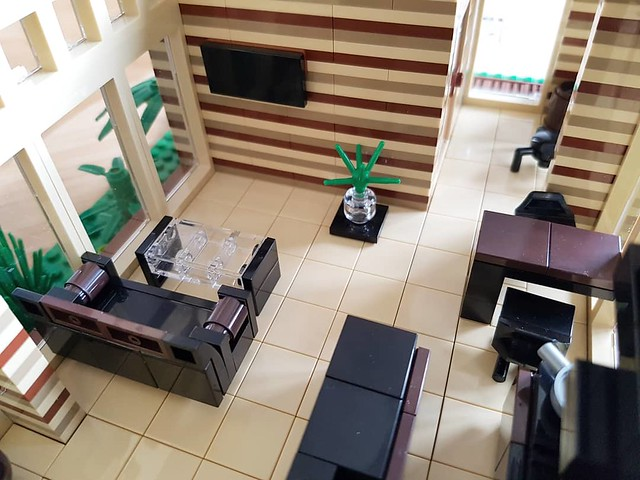 Cocoa Jungle Cottage MOC open plan living room and kitchen