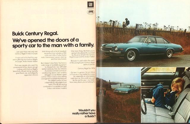 1974 Buick Century Regal Advertisement Motor Trend November 1973