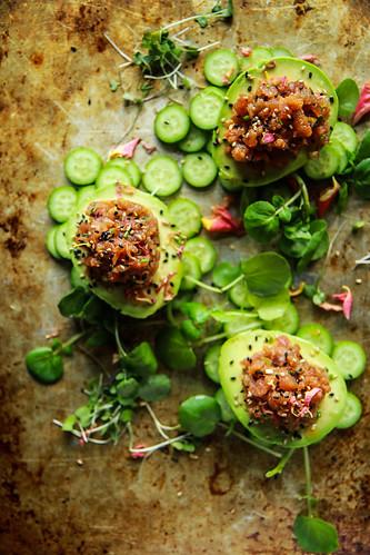 Spicy Tuna Stuffed Avocados from HeatherChristo.com | by Heather Christo