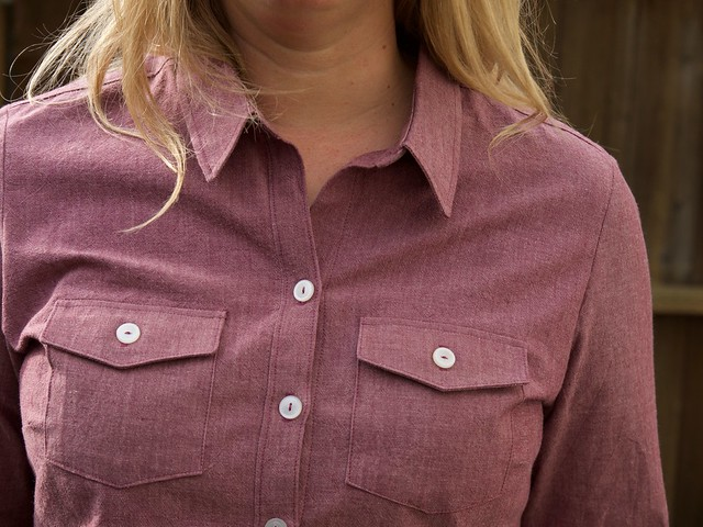 chambray Granville shirt closeup