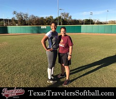 Madison McClarity @DeeMcClarity04 with Texas State Softball Head Coach Ricci Woodard. Madison attended Texas State's softball camp on December 10th and had a good experience while getting work in BP, fielding and scrimmaging.