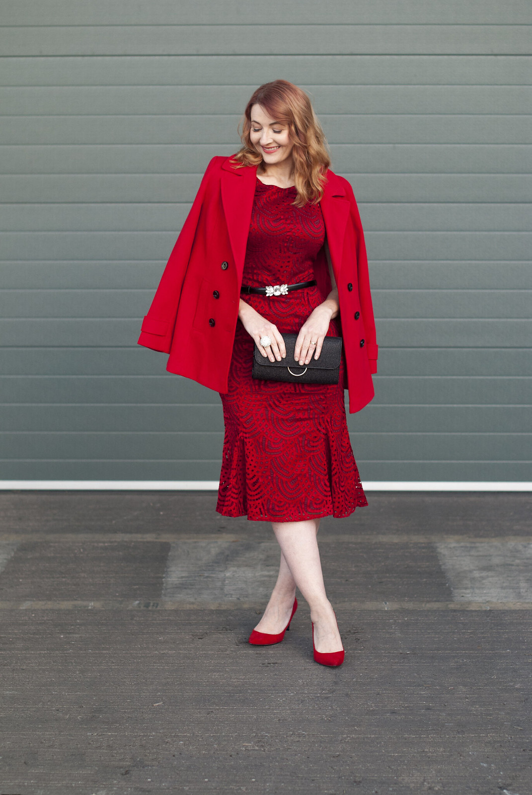Christmas party or New Year's Eve party outfit - red lace midi dress with red pea coat and red heels   Not Dressed As Lamb, over 40 style