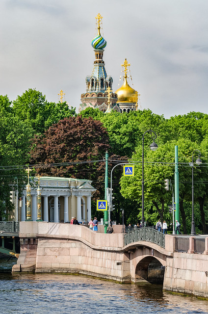 A view of the Moyka river and the domes of the Church of Savior on blood.