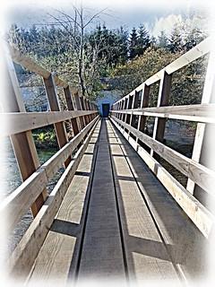 The view looking across the footbridge towards Rutter