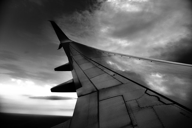Reflections off an Airplane Wing (Black & White)