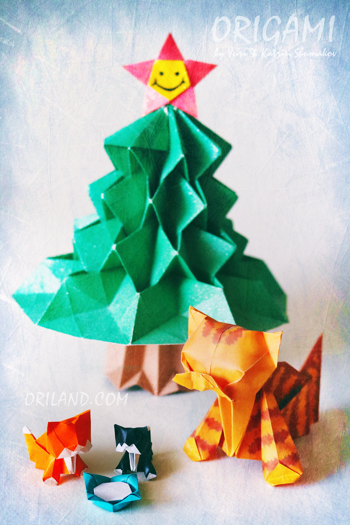 Origami christmas tree 3d made of paper easy tutorial for kids ... | 1024x683