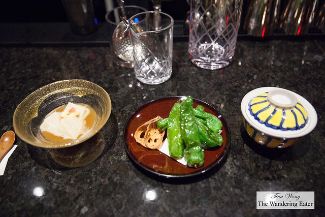 Appetizers to start - shisto peppers, sesame tofu and lidded bowl of sesame tofu with sea urchin and wasabi soy sauce