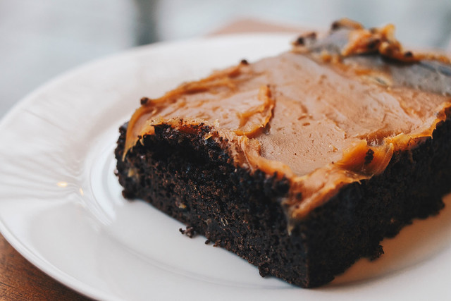 Delicious brownie with caramel close up