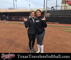 Madison McClarity @DeeMcClarity04 with Volunteer Assistant Coach Alex Jones at the Oklahoma State University softball camp.