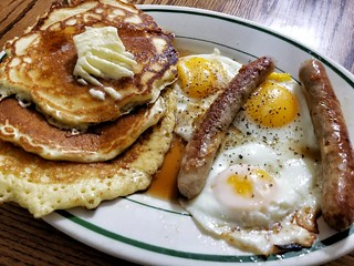 pancakes with sausages and eggs | by jeffreyw