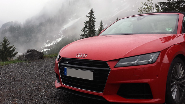 Audi TT convertible after hill climb in Vorarlberg, Austria