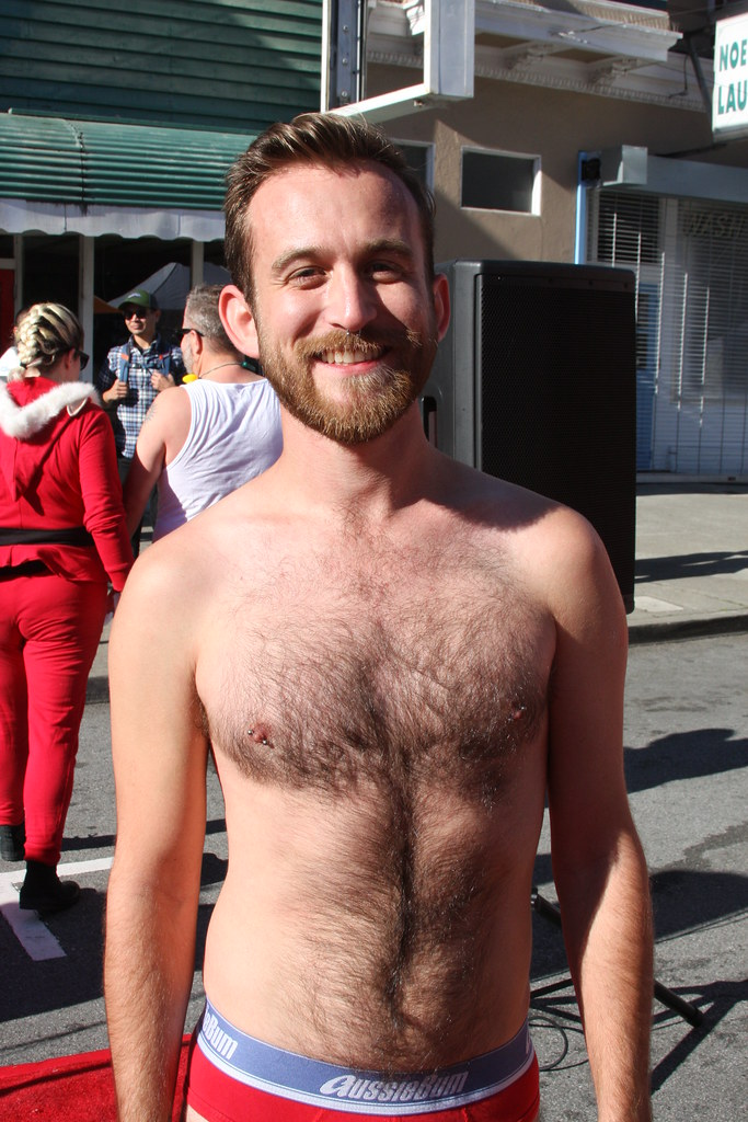 HELLA SEXY HAIRY HUNK ! SANTA SKIVVIES RUN 2017 ! ( safe photo )