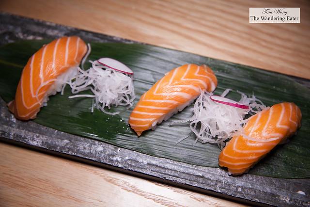 Plate of salmon nigiri