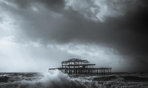 brighton england unitedkingdom gb storm doris gale dramatic wind coast abandoned westpier naturaleza beautyinnature sky clouds nopeople blackandwhite bw anthonywhitesphotography