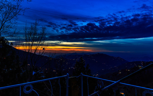 murree pakistan blue hour golden orange sky cloud cloudscape dusk sunset