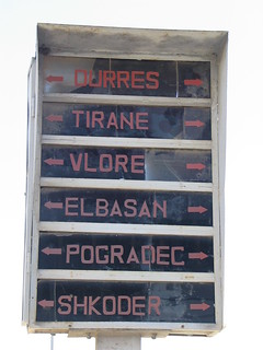 Destination board with background light in Durres - of course not in use