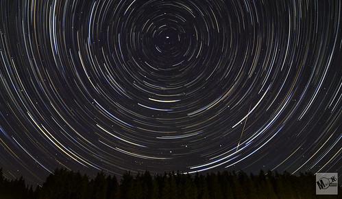 Star trails and meteor Kielder forest