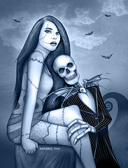Jack and Sally Nightmare Before Christmas Art by Sherrie Thai of Shaireproductions.com