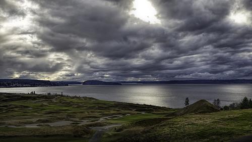 sky chambersbay landscape pugetsound clouds contrast explore explored stickneydesign dark moody hughstickney interestingness
