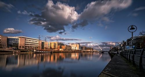 dublin ireland liffy sunset river