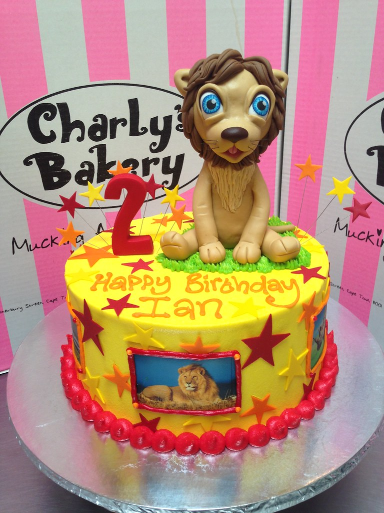 Remarkable Single Tier Lion Themed 2Nd Birthday Cake With 3D Cute Lio Flickr Funny Birthday Cards Online Alyptdamsfinfo