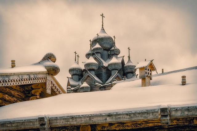 Wooden Pokrovskaya church at the suburbs of Saint Petersburg.