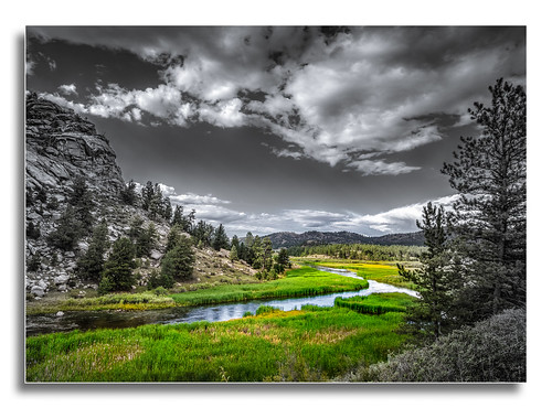 boulders rocks rushing color stream water 11 eleven mile canyon park state colorado river valley green trees sky black white rocky mountains