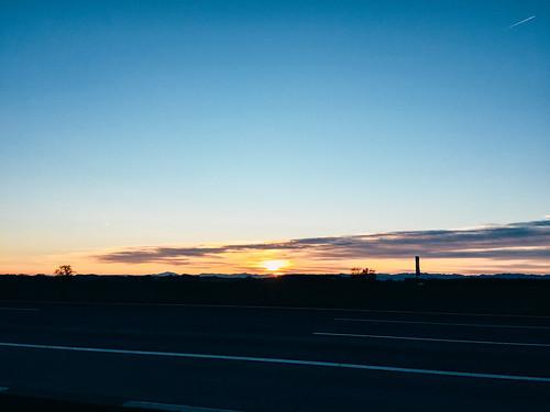 gemeindepucking oberösterreich austria at clouds colorful linz motorway plane sunrise travel winter europe