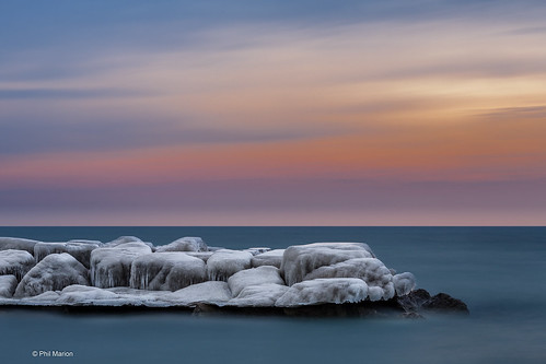 [long exposure] Pastel sunrise over icy Lake Ontario breakwall - Kew Beach, Toronto | by Phil Marion (184 million views - THANKS)