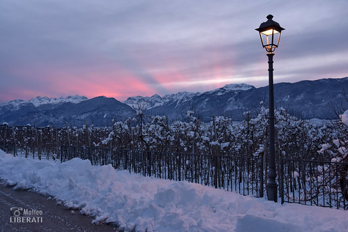 italia trentino italy trentinoaltoadige sanzeno landscape paesaggio paisaje natura naturaleza nature outdoor exterior tramonto sunset atardecer sun sole sol rayos raggi rays pink rosa sky cielo nuvole nubes clouds neve nieve snow lampione farola lamppost light luce luz trees alberi arboles mountain montagna montaña inverno invierno winter alpi alps alpes dolomitas dolomites dolomiti view scenery unesco dolomiten schnee südtirol italien europe europa naturephotography sunlight outside