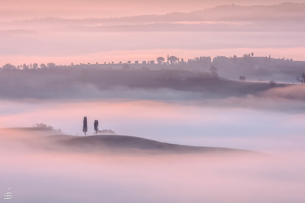 Misty morning on Val d'Orcia