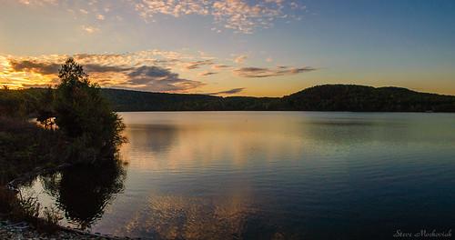 smack53 autumn autumnseason fall fallseason monksvillereservoir water lake reservoir mountains sunset evening eveningsky reflections paintedsky clouds scenic scenery panorama nikon d100 nikond100