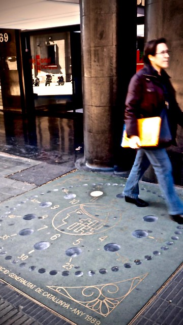 2nd Reloj de las Llums, Lights Clock in the pavement of Vía Laietana, Barcelona Spain