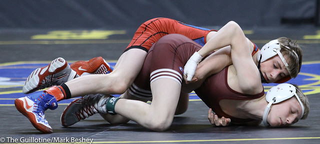 106A Semifinal - Will Magaard (Kerkhoven-Murdock-Sunburg) 46-1 won by major decision over Seth Goetzinger (Chatfield) 34-8 (MD 13-4) - 180303amk0001