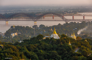 Sunset over Irawaddy River and stupa filled hills near Sagaing, Myanmar | by Phil Marion