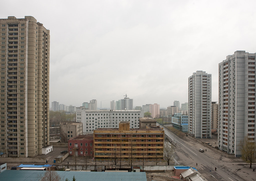 Dilapidated housing buildings in the city center, Pyongan Province, Pyongyang, North Korea