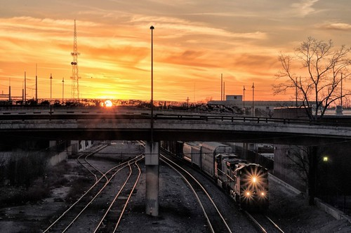 d90 sigma1770os train sunset overpass starburst f22 tracks tulsa downtown sun photoshopelements18 topazclarity topazadjust colorefex