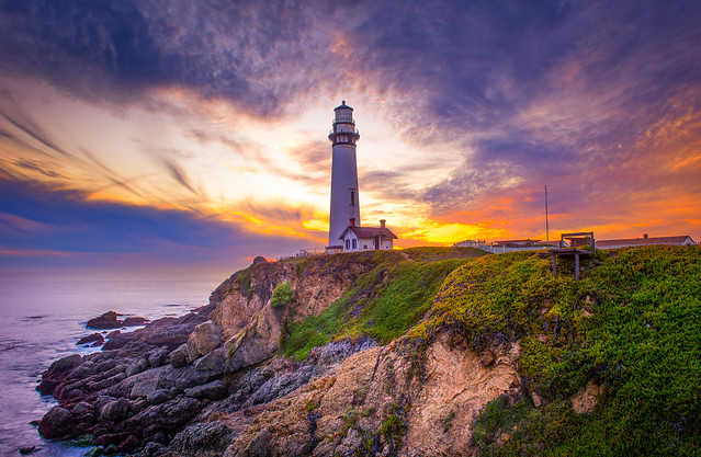 Pigeon Point Lighthouse Station at Sunset.