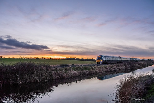 reflection water sky evening dusk sunset walking cycling railway canal dublinsligo irishrail train ireland kildare kilcock royalcanal royalcanalgreenway