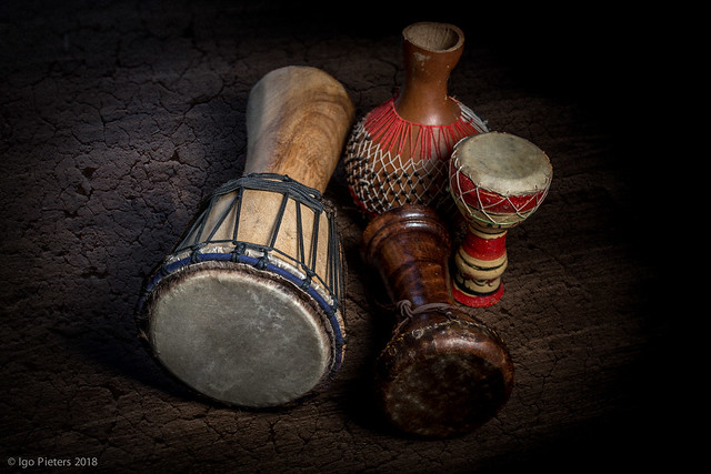 Djembe, clay drums and shekere