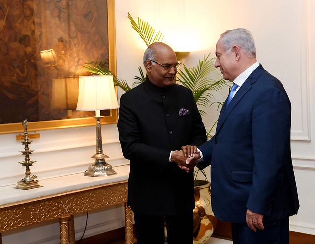 PM Benjamin Netanyahu in a meeting with India's President in New Delhi