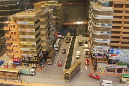 1:160 scale Hong Kong street scene at the 80M Bus Model Shop