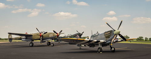 Spitfire, P-38 and P-40 on display