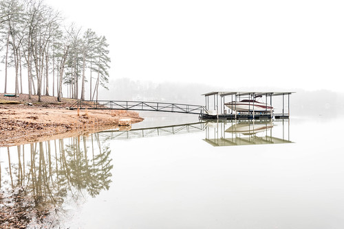 southcarolina sc lake fog water reflection