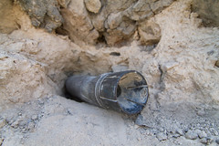 Artillery shell unexploded in the walls of Dadivank monastery