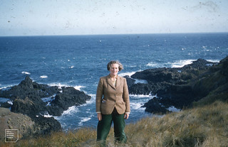 Me on S.coast cliffs of Phillip Isld. Vic. May 1960 Severe erosion. Bass Strait to S.V. coast