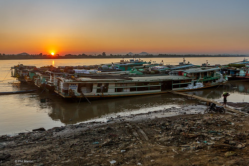 Sunset over cargo boats and the Chindwin River -  Monywa, Myanmar | by Phil Marion (184 million views - THANKS)