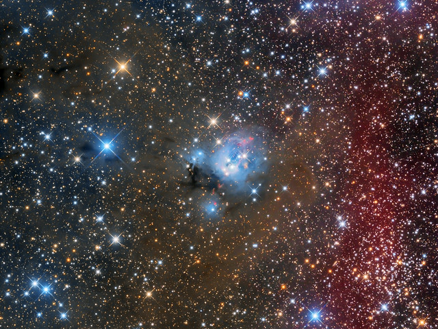 Nebula NGC7129 and  open cluster NGC7142 in Cepheus (ver.2018)