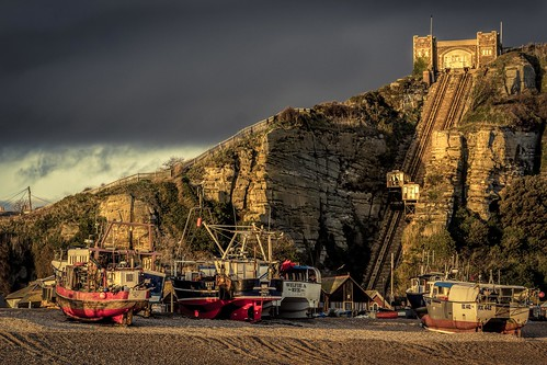 hastings goldenhour beach nikon d7100 topazclarity splittone boat tamronsp70300f456vcusd pebbles railway thestade eastsussex winter clouds england rockanore funicularrailway
