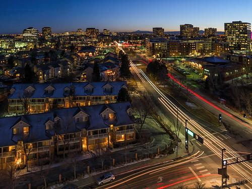 dtc city denver dusk headlights lights longexposure night
